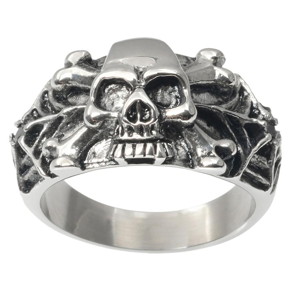 Men's Daxx Stainless Steel Spider Web Skull Ring - Silver (12)
