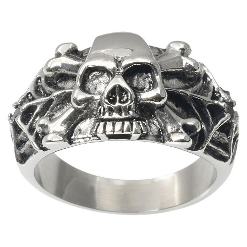 Men's Daxx Stainless Steel Spider Web Skull Ring - Silver - image 1 of 3