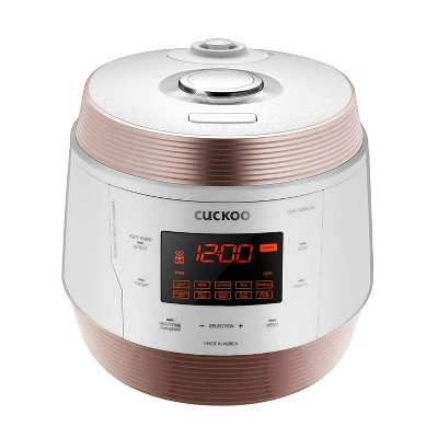 Cuckoo Q5 Premium 8-in-1 (Pressure, Slow, Rice Cooker, Steamer, Warmer, Yogurt, Soup Maker) Multicooker Steel Q50 Non-Stick Coating, White & Gold