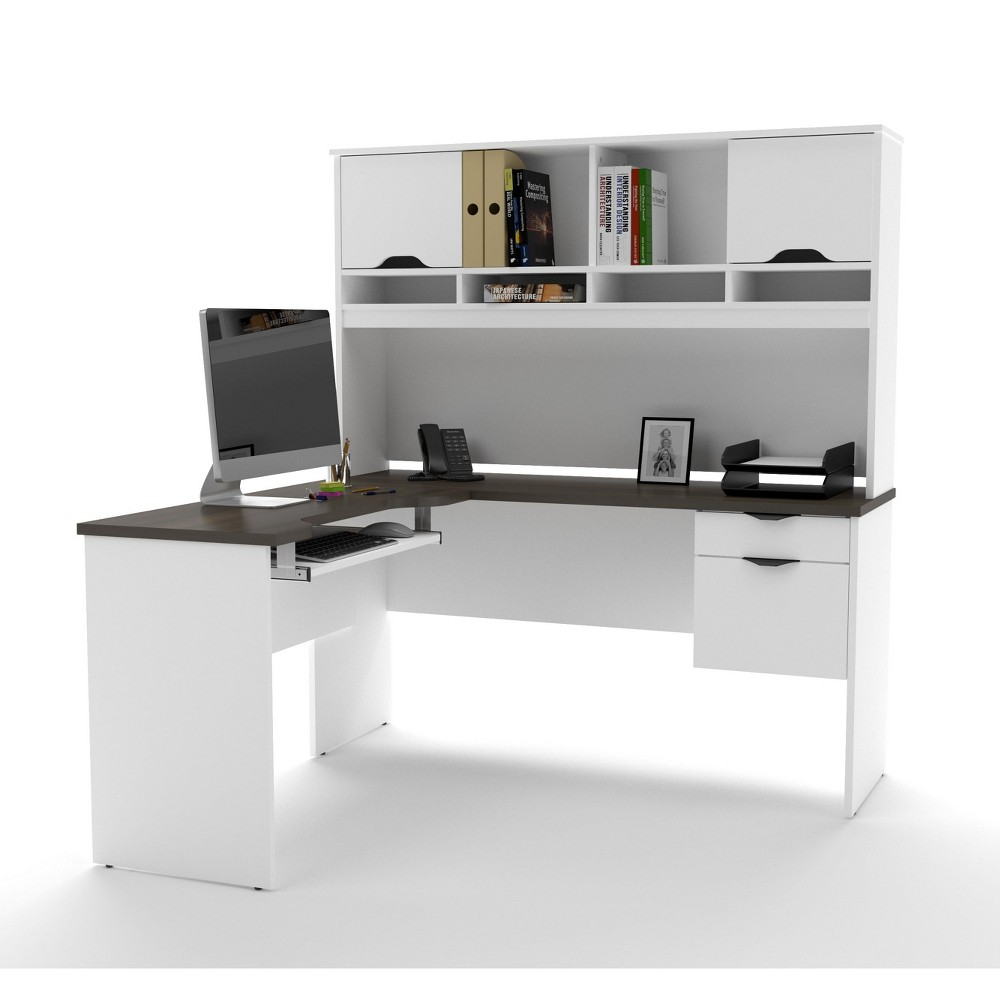 Innova L-Shaped Desk White/Antigua Brown - Bestar
