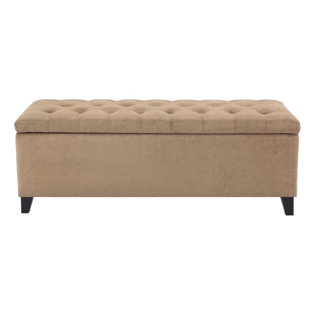 Shandra Bench Storage Ottoman with Tufted Top - Sand (Brown)