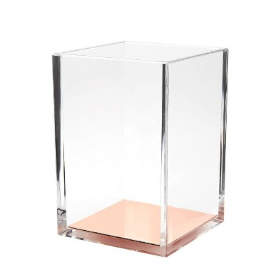 Juvale Acrylic Clear Makeup Brush Pencil Pen Holder Cup Desk Organizer, 3.1 x 4.5 x 3.1