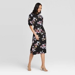 Women's Floral Short Sleeve High Neck A-Line Midi Dress - Who What Wear™