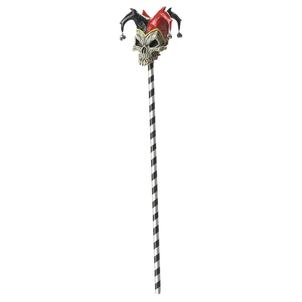 Halloween Jester Skull Cane, Black