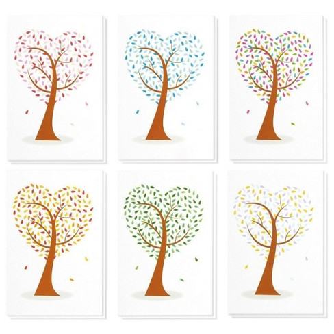 48 Pack All Occasion Blank Note Cards Greeting Cards with Envelopes - 6 Assorted Colorful Heart Shaped Tree Designs Bulk Box Set, 4 x 6 Inches - image 1 of 4
