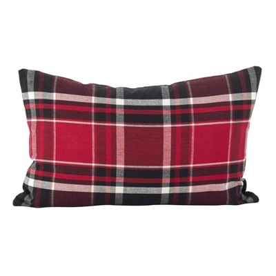 "12""x20"" Jarret Plaid Pillow Down Filled Red - SARO Lifestyle"