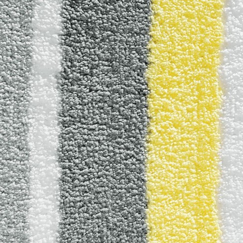 Stripe Bath Rug 60x21 Gray Yellow Idesign Target