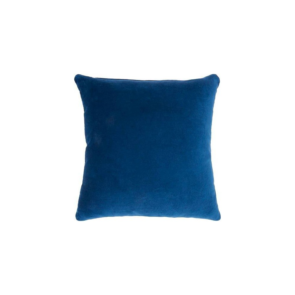 Image of Life Styles Solid Velvet Square Throw Pillow Navy - Nourison