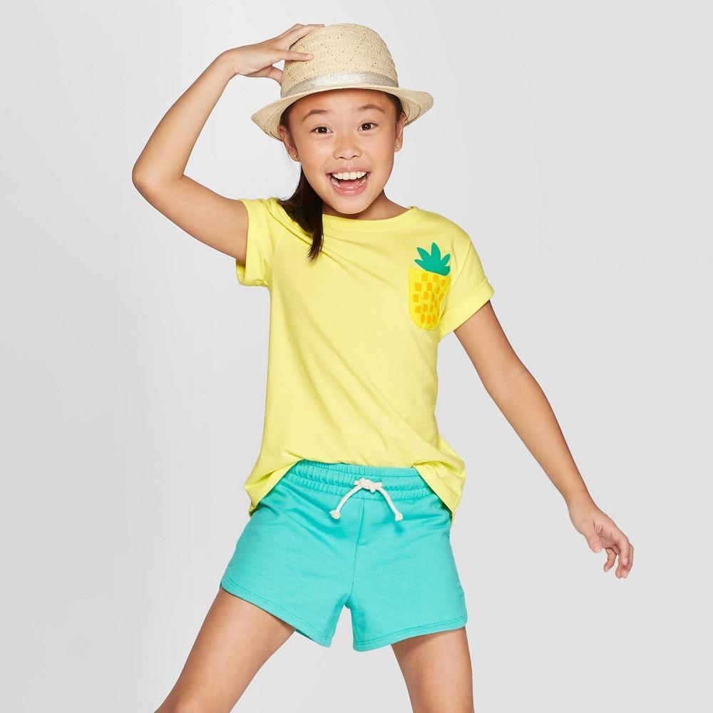32a45c5e3f0 Girls Short Sleeve Pineapple Pocket T Shirt Cat Jack Yellow L