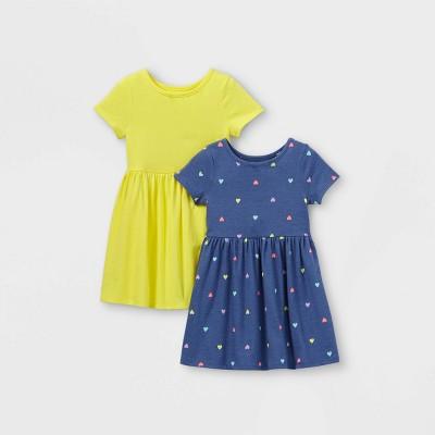 Toddler Girls' 2pk Heart Dress - Cat & Jack™ Navy/Yellow