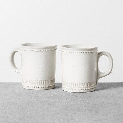 2pk 9oz Mug Beaded White - Hearth & Hand™ with Magnolia
