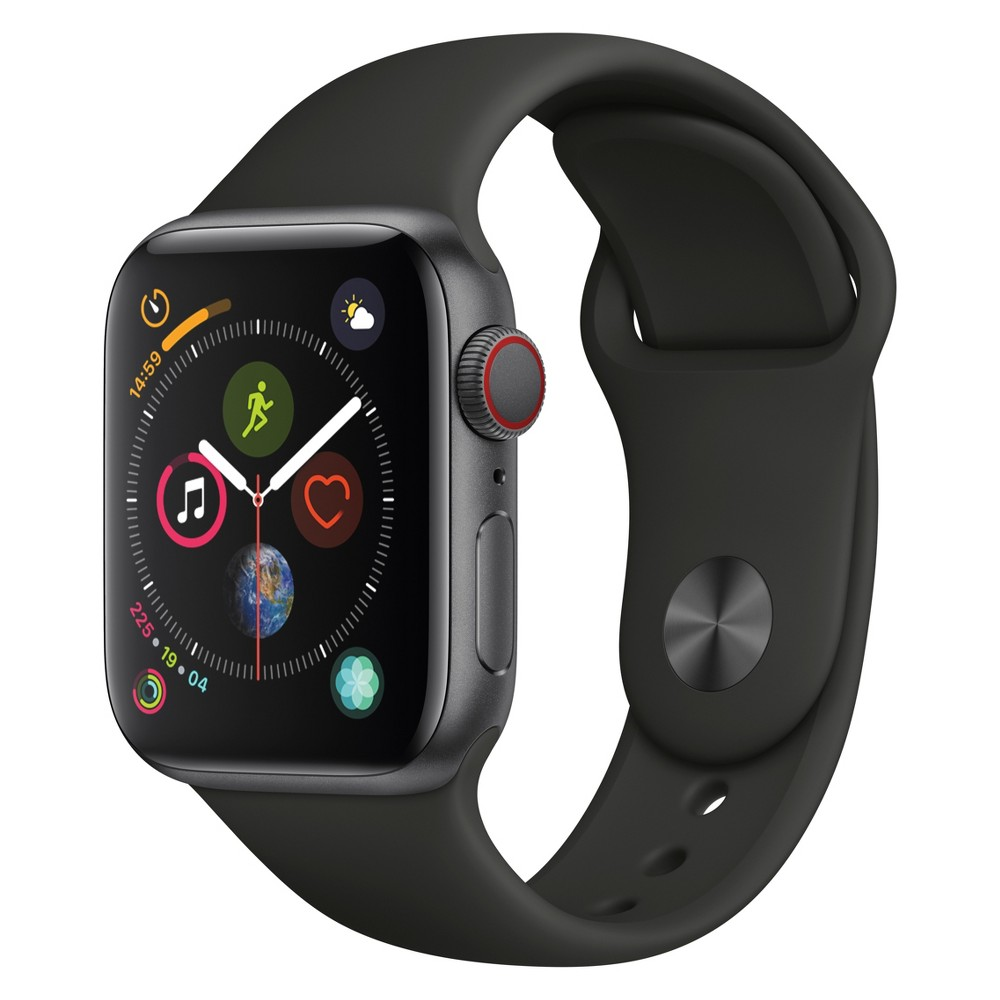 Apple Watch Series 4 Gps & Cellular 44mm Space Gray Aluminum Case with Sport Band - Black, Black Sport Band Fundamentally redesigned and re-engineered. The largest Apple Watch display yet. Built-in electrical heart sensor. Automatic workout detection. Fall detection and Emergency Sos. Built-in cellular lets you use Walkie-Talkie, make phone calls, and send messages. Stream Apple Music and Apple Podcasts. And use Siri in all-new ways—even while you're away from your phone. Color: Black Sport Band.