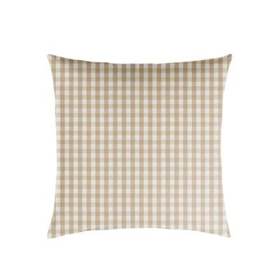 Plaid Outdoor Throw Pillow Beige/White