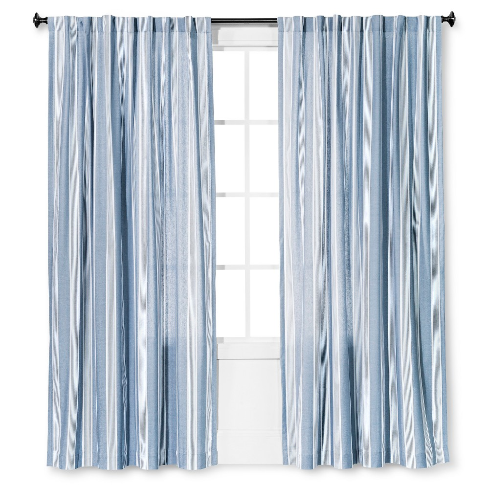 Stripe Window Curtain Panel Washed Blue (54