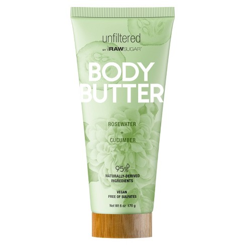 Unfiltered By Raw Sugar Rosewater and Cucumber Body Butter - 6oz - image 1 of 3