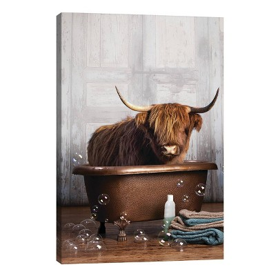 """18"""" x 12"""" x 0.75"""" Highland Cow In the Tub by Domonique Brown Unframed Wall Canvas - iCanvas"""