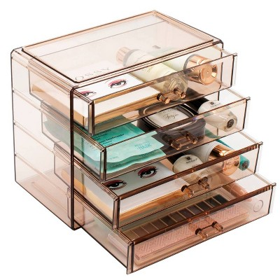 Sorbus Acrylic Cosmetics Makeup and Jewelry Storage Case Display - Brown(4 Large Drawers)