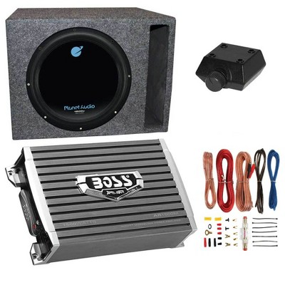 """Planet Audio AC12D 12"""" 1800W 4 Ohm DVC Car Subwoofer Package with Boss Audio 1500W Mono A/B Amplifier, Wiring Amp Kit and QPower Vented Sub Enclosure"""