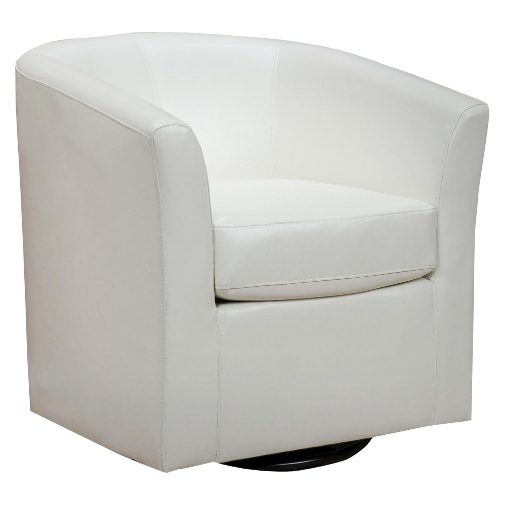 Daymian Faux Leather Swivel Club Chair - Christopher Knight Home, Ivory