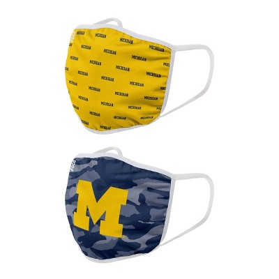 NCAA Michigan Wolverines Adult Face Covering 2pk