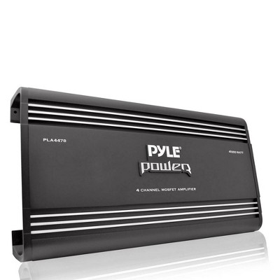 Pyle PLA4478 Bridgeable Slim 4 Channel 4000 Watt Car Audio Mosfet Power Amplifier Amp with Thermal Protection for Vehicle and Car Stereos (Black)