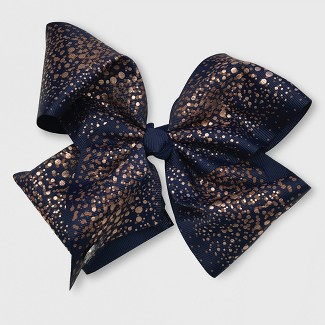 Girls JoJo Siwa Blue Bow with Rose Gold Glitter Print Hairclip