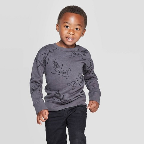 Toddler Boys' Frozen Olaf Embroidery Sweatshirt - Black - image 1 of 3