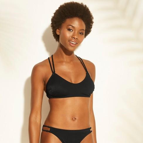 8b10ccfa93 Women s Ribbed Ring Bralette Bikini Top - Xhilaration™ Black XS   Target