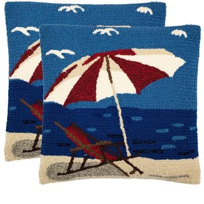 "Beach Lounge Pillow (Set of 2) - Marine/Red - 20"" x 20"" - Safavieh"