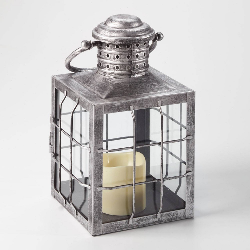 """Image of """"12"""""""" Charles LED Candle Outdoor Lantern Silver - Smart Living"""""""