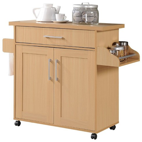 Kitchen Island with Spice Rack plus Towel Holder in Beech Brown - Hodedah