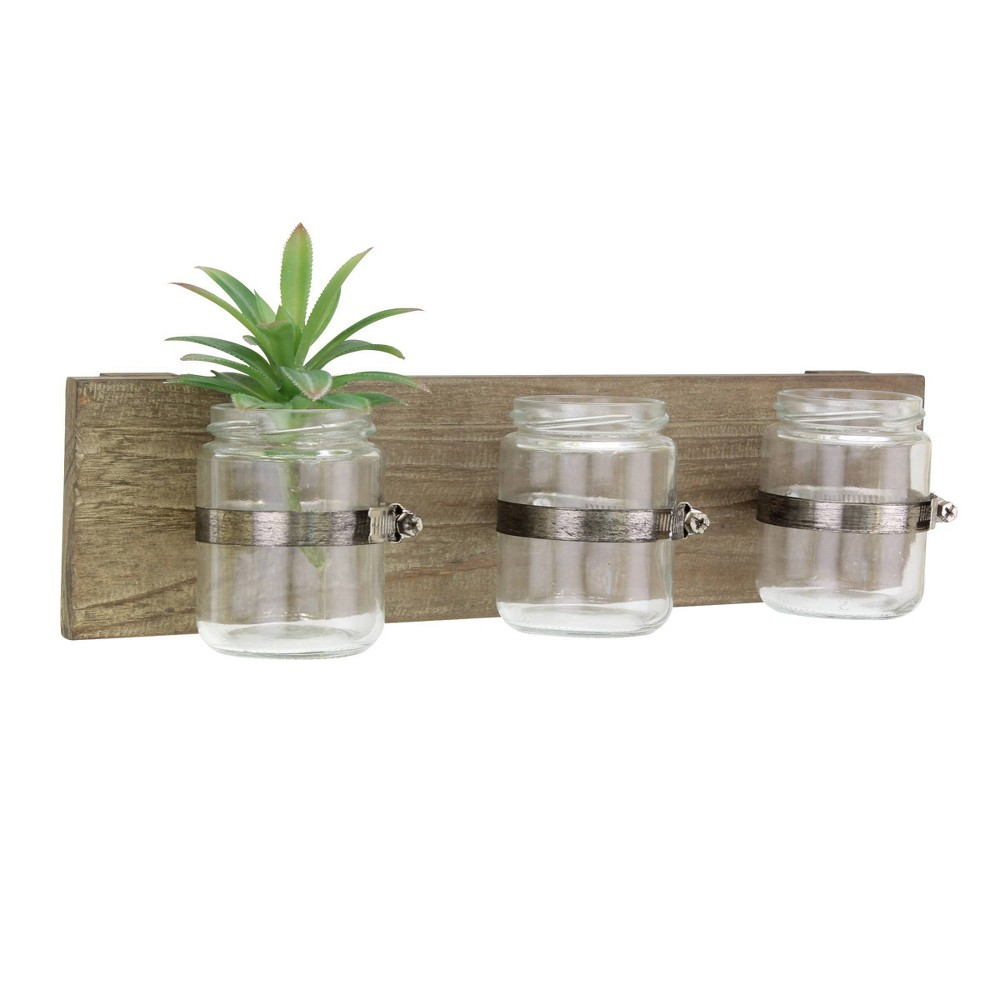 Image of 3 Glass Jars Rustic Natural Wood Wall Art - Stonebriar Collection