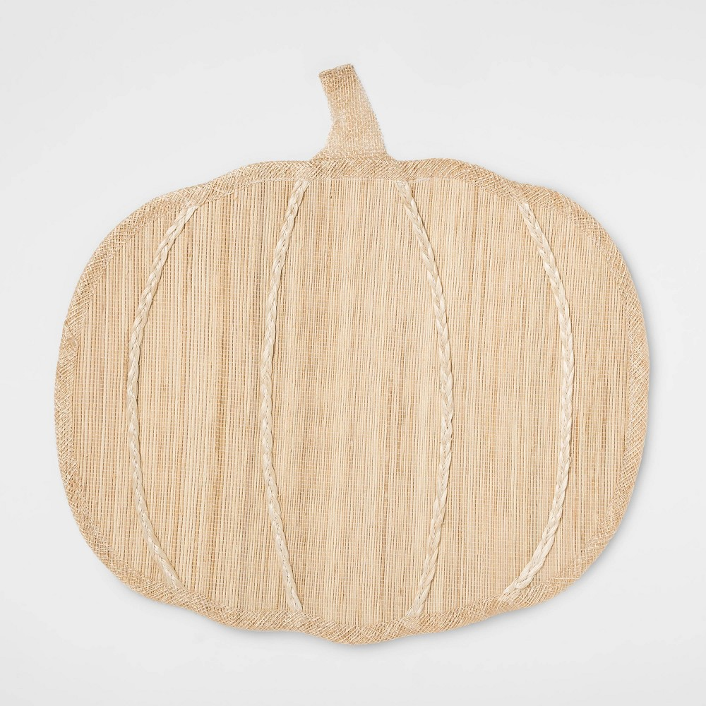 "Image of ""15""""X15"""" Pumpkin Shaped Placemat Natural - Threshold , White"""