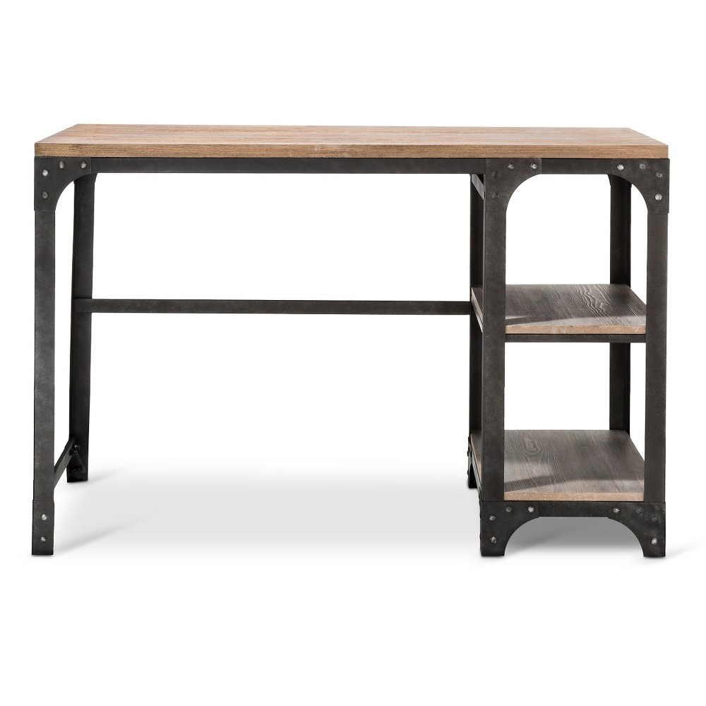 Franklin Desk with Shelves Gray - The Industrial Shop