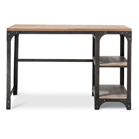 Franklin Desk With Shelves Gray The Industrial Shop Target