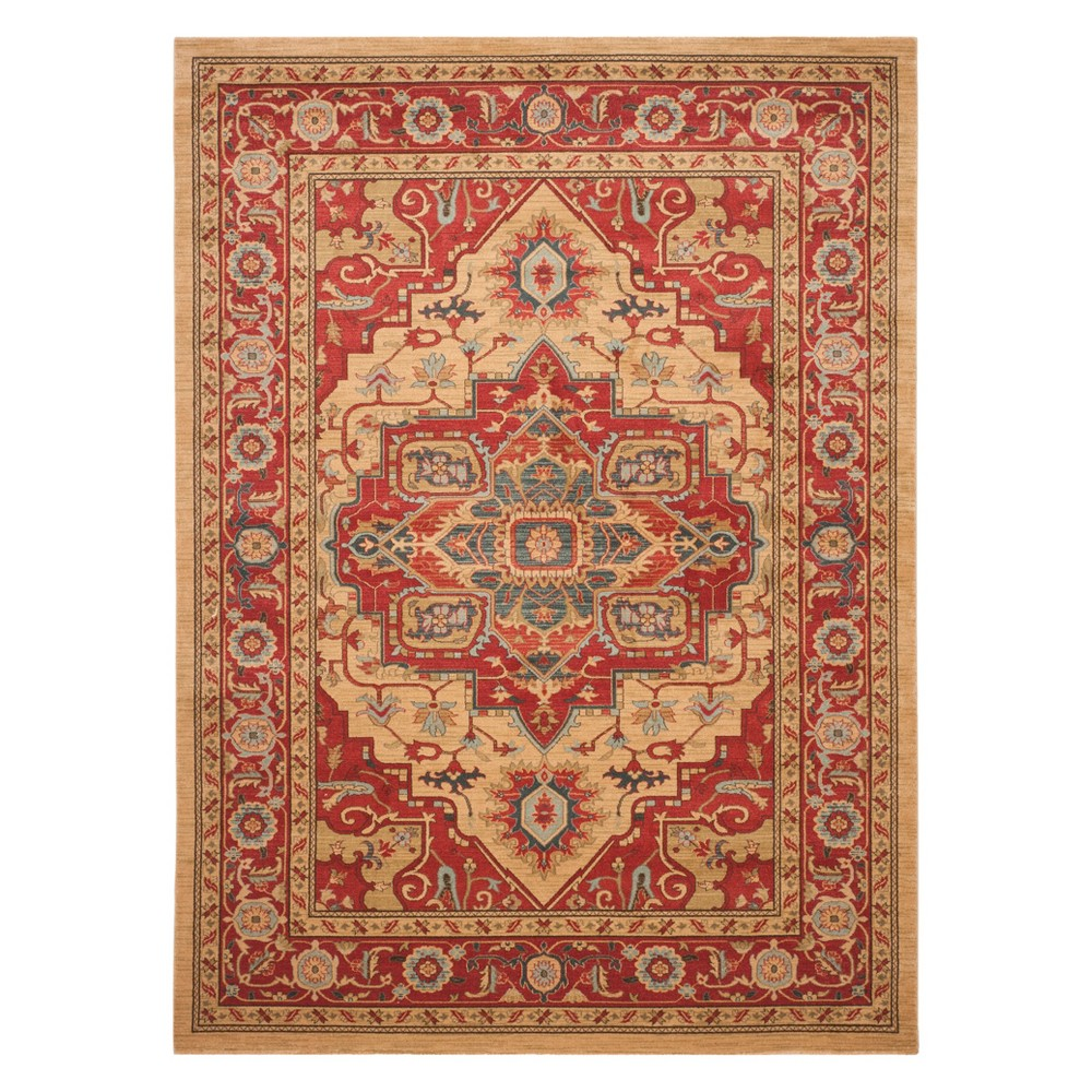 Medallion Area Rug Red/Natural