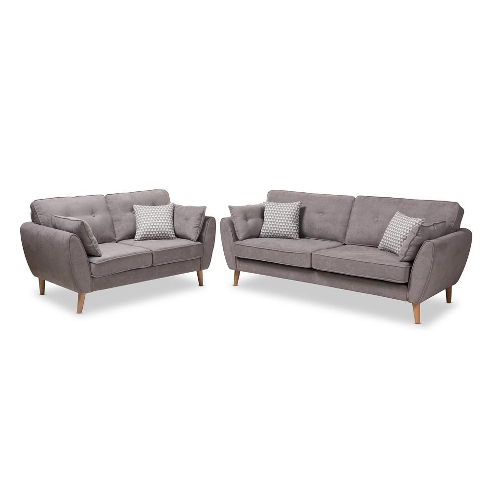 Image of 2pc Miranda Mid Century Modern Fabric Upholstered Living Room Set Light Gray - Baxton Studio