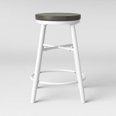Metal & Wood Seat Counter Stool White - Room Essentials™