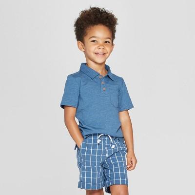 8540140f Toddler Boys' Short Sleeve Slub Jersey Polo Shirt - Cat & Jack™ Blue