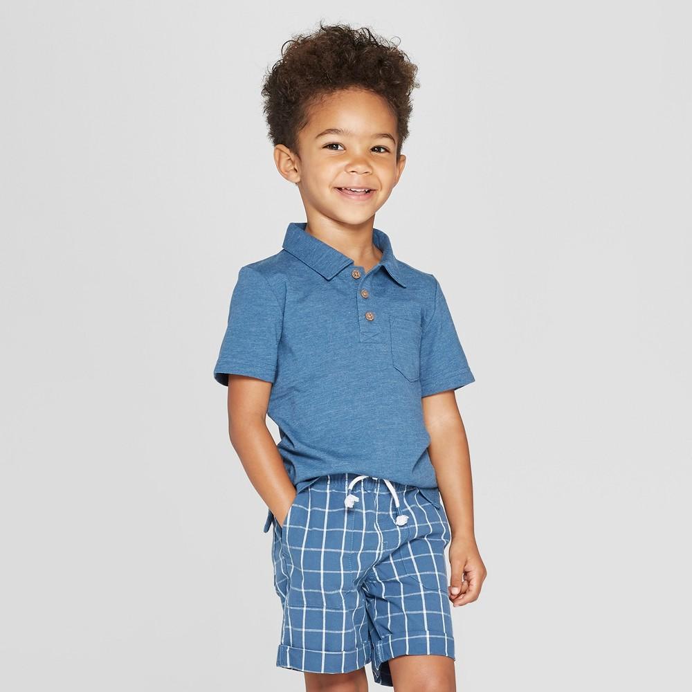 Toddler Boys' Short Sleeve Slub Jersey Polo Shirt - Cat & Jack Blue 3T
