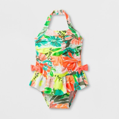 Baby Girls' Floral Skirt One Piece Swimsuit - Cat & Jack™ 12M