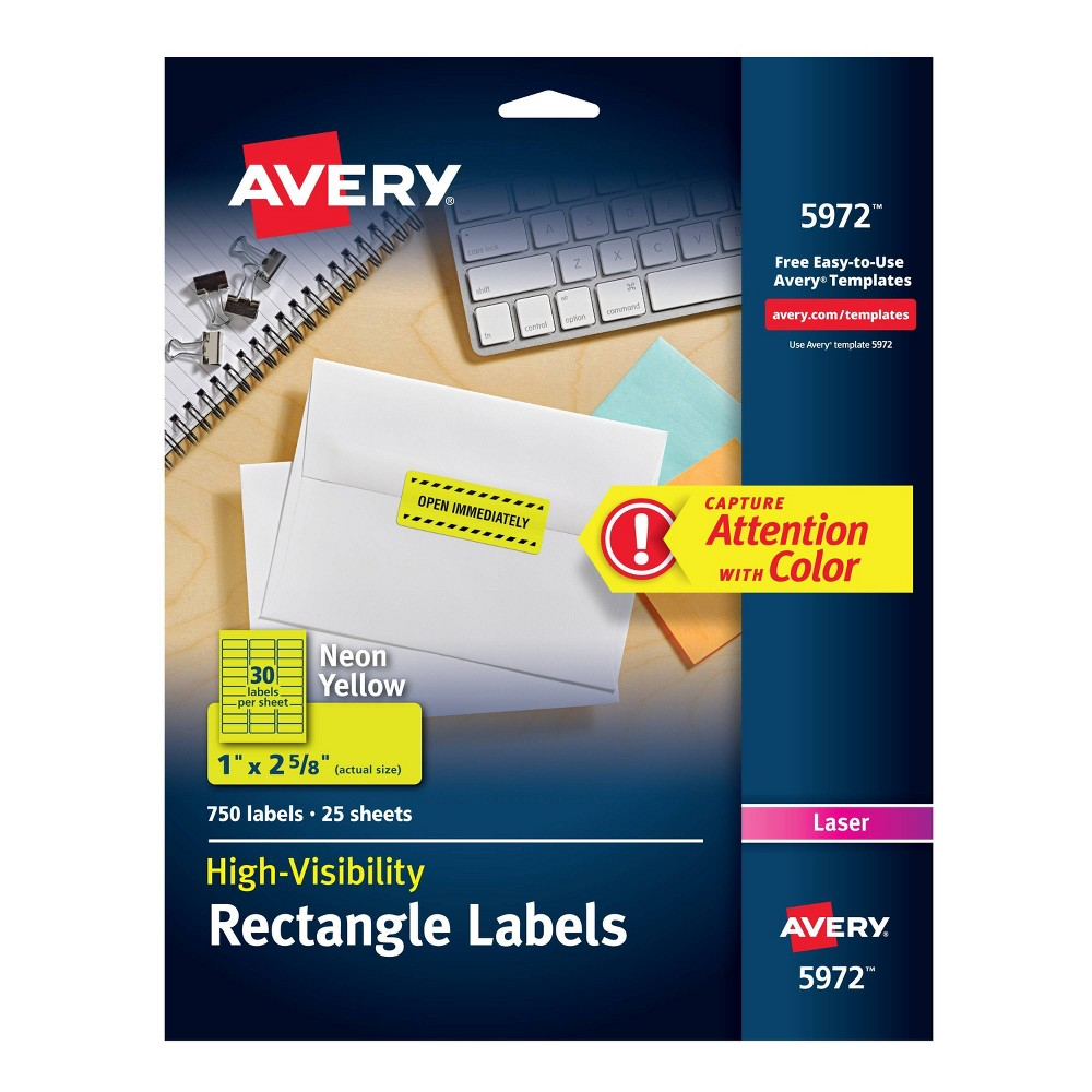 Image of Avery 1 x 2-5/8 High-Visibility Laser Labels- Neon Yellow (750 per Pack)