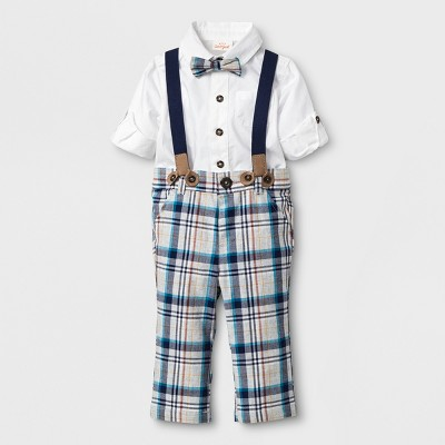Baby Boys' 3pc Long Sleeve Oxford Bodysuit, Suspenders in Plaid Pants and Bow Tie Set - Cat & Jack™ Blue Newborn