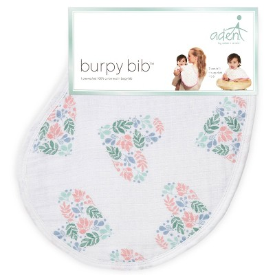 aden and anais Essentials Burpy Bib Flower Patterned Heart - Light Pink