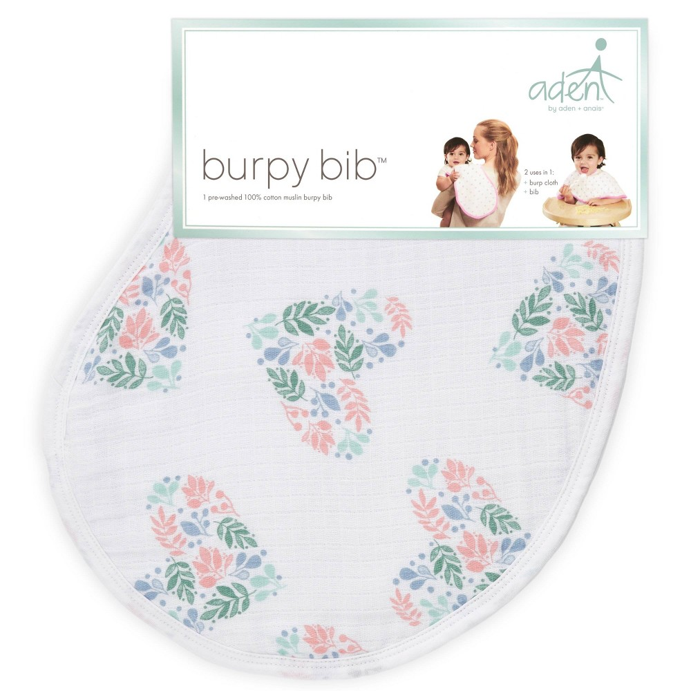 Image of aden by aden + anais Bib Flower Patterned Heart - Light Pink