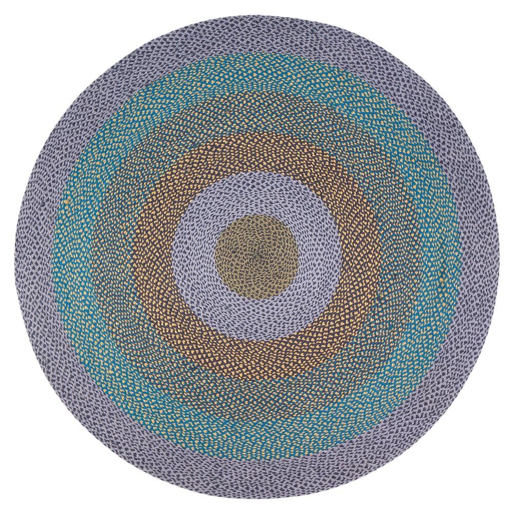 Blend Jute Rug  - Anji Mountain 8' Round Blend Jute Rug Purple/Blue - Anji Mountain Gender: unisex. Pattern: Shapes.