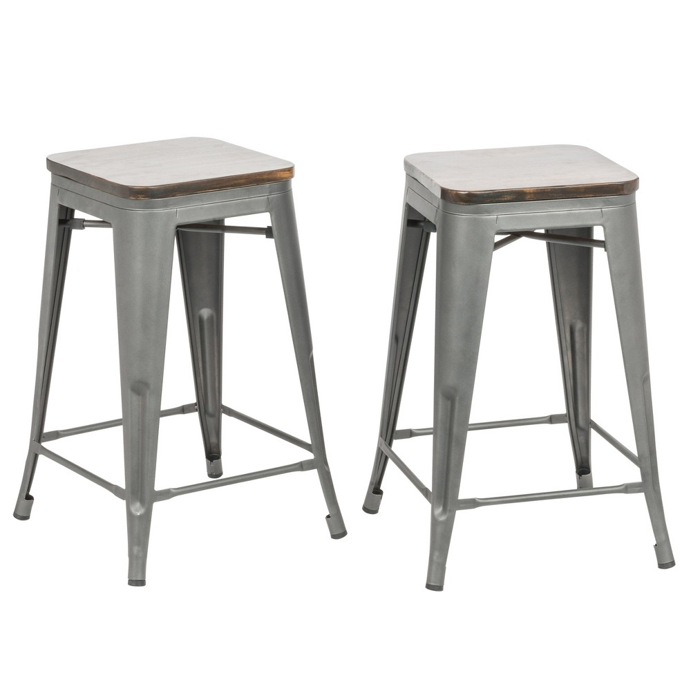 "Image of ""24"""" Emil Square Counter Stool Set of 2 Rustic Pewter - Carolina Chair and Table, Rustic Silver"""