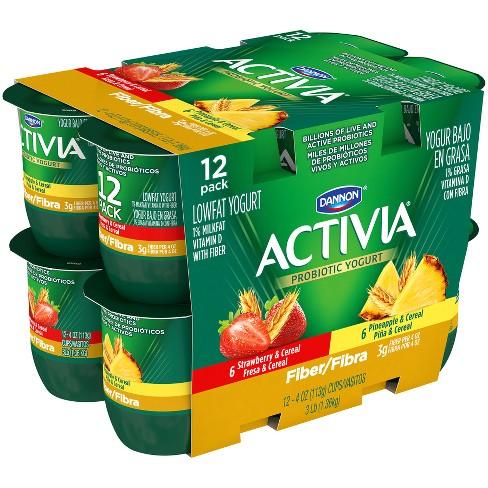 Dannon Activia Strawberry/Pineapple With Cereal Probiotic Yogurt - 4oz 12pk : Target