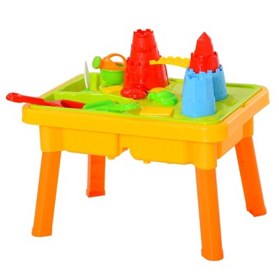 Qaba 23PCs Kids Sand and Water Table Beach Play Toddler Activity Sandbox Summer Beach Toy sets with Castle Shape Molds Lid Accessories Multicolor