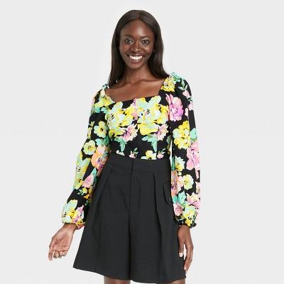 Women's Balloon Long Sleeve Bardot Top - Who What Wear™